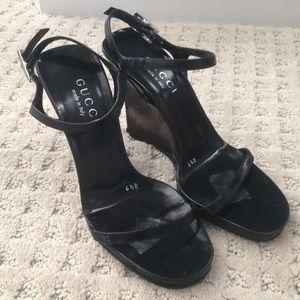 GUCCI black leather platform lucite wedge sandals